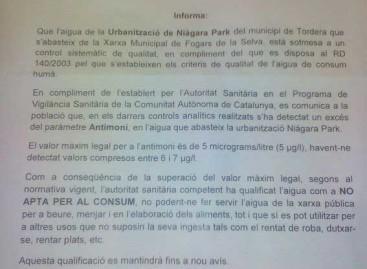 Declaran no apta para el consumo el agua de una urbanización de Tordera al localizar un producto tóxico