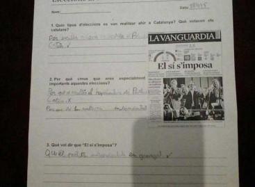 """SCC pide explicaciones a Ensenyament por un ejercicio escolar """"politizado"""" en una escuela de Premià de Dalt"""