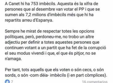"""Piden la dimisión del jefe de prensa de Arenys de Mar por llamar """"imbéciles"""" a los votantes del PP"""