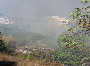 Una colilla lanzada desde un coche incendia un cañaveral en el barrio de Sant Lluís en Palafolls