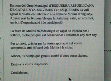 Sorpresa por que ERC de Mataró agradece a los comerciantes de Molins su participación en las fiestas del barrio