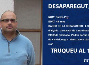 Los Mossos piden colaboración ciudadana para localizar a un vecino de Pineda de Mar desaparecido