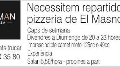 Pizzeria de El Masnou necessita repartidors